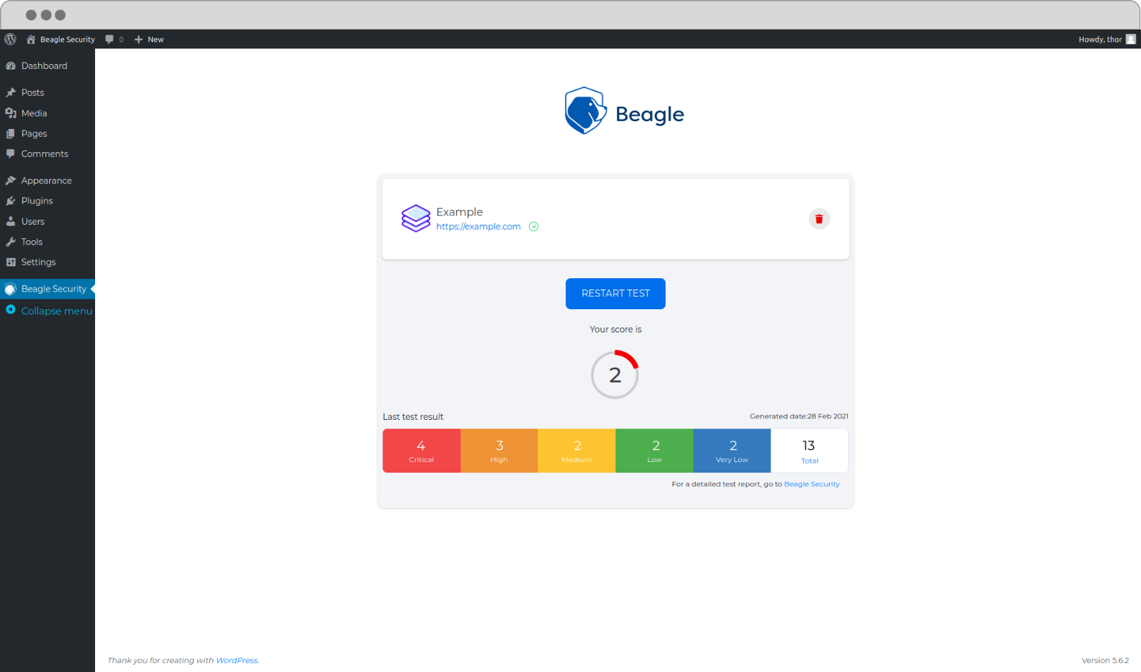 WP Plugin screen